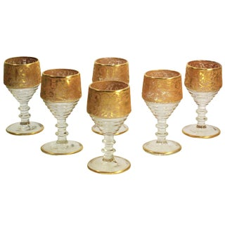 Wine Cordials with Gold Encrusted Bands - Set of 6