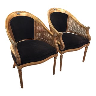 Antique Louie XVI Style French Armchairs - Pair