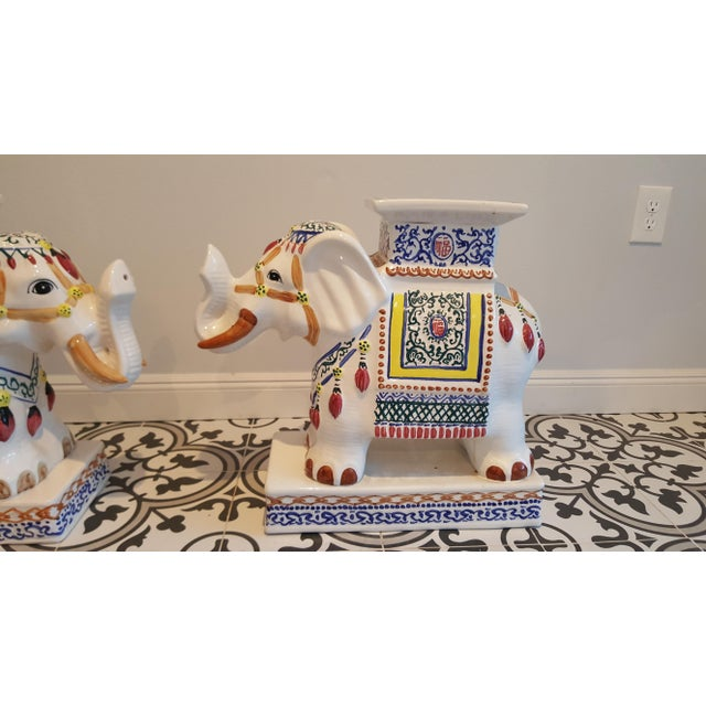 Ceramic Elephant Side Tables - A Pair - Image 4 of 11