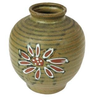 1960s Japanese Green Floral Vase