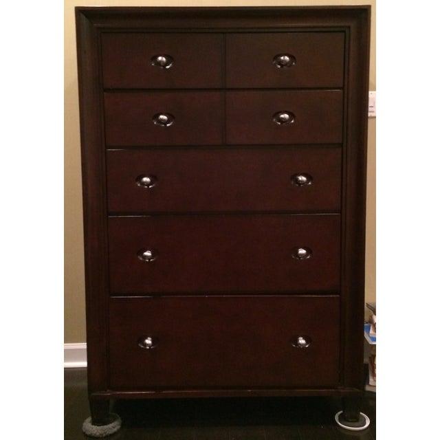 Image of Transitional Highboy 5 Drawer Dresser