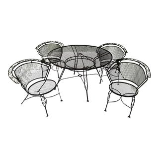 Mid-Century Wrought Iron Arthur Umanoff Patio Dining Set