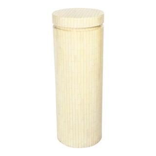 Enrique Garces Tall Cylindrical Column Bone Veneer Display Pedestal