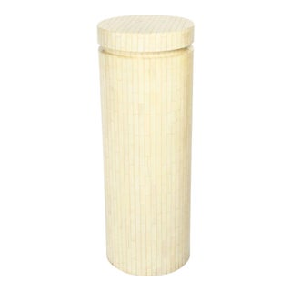 Enrique Garces Tall Cylindrical Column Bone Veneer Display Pedestal