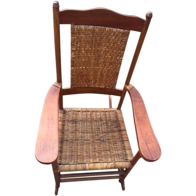 Teak Rattan Rocking Chair - Image 1 of 11