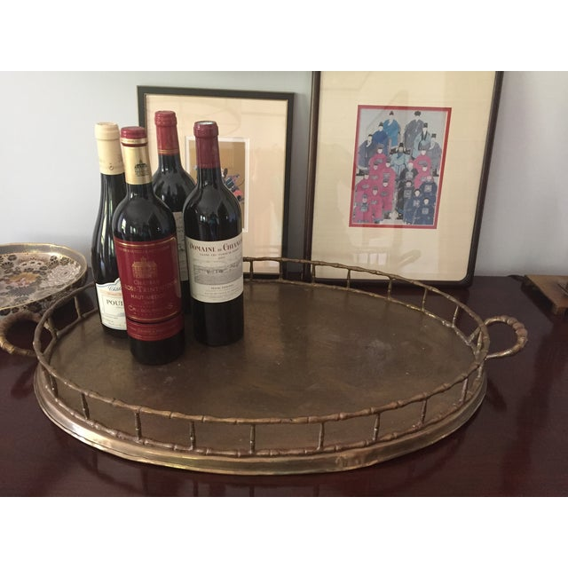 Vintage Faux Bamboo Brass Serving Tray - Image 3 of 3