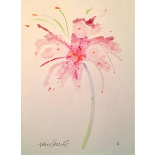 "Steve Klinkel ""Soft Pink Lily"" Watercolor Painting"