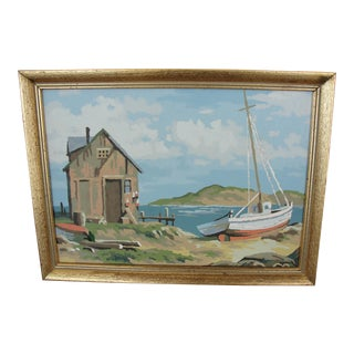 Vintage Paint-by-Numbers Fishing Boat Painting
