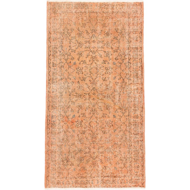 "Vintage Peach Turkish Over-Dyed Rug - 3'5"" X 6'4"" - Image 1 of 2"