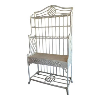 Hekman Rattan Chinese Chippendale Bakers Rack Rattan