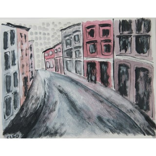 Greenwich Village Street Cityscape Painting by Cleo