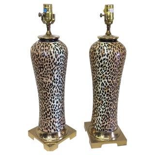 Vintage Leopard Print Ceramic Lamps - A Pair