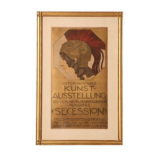 Original, Authentic and Vintage Franz Stuck European Stone Lithograph Poster