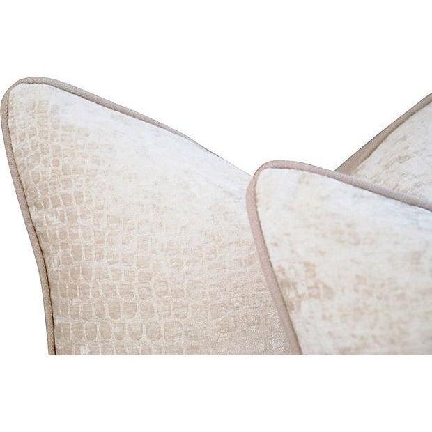 Image of Ivory Velvet & Linen Crocodile Pillows - A Pair