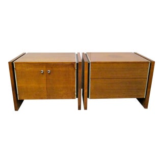 John Stuart Walnut & Steel Nightstands - A Pair
