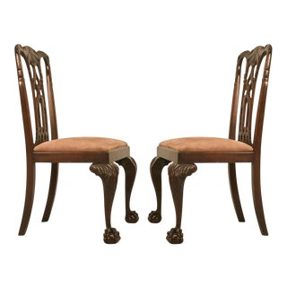 Incredible Pair of Antique Dutch Chippendale Side Chairs w/Exquisite Details