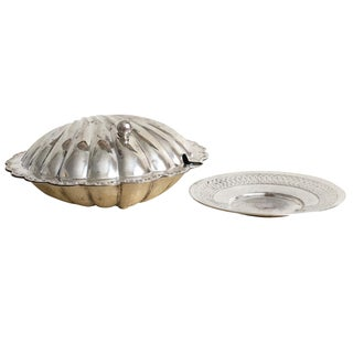 Silver Clamshell Jewelry Box & Ring Dish, Nautical Decor