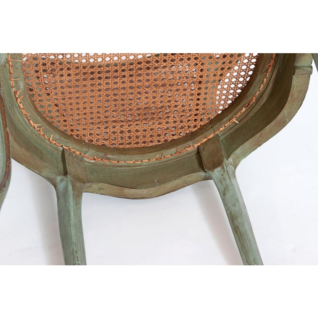 Set of 4 Italian Caned Polychrome Fauteuils - Image 10 of 11