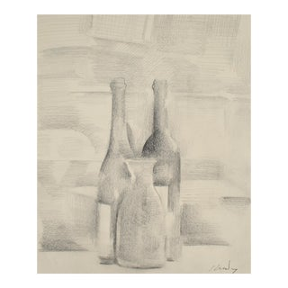 Still Life with Bottles in Graphite, Framed