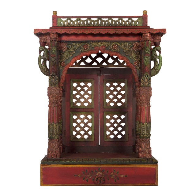 Teak Wood Hand Painted Pooja Mandir - Home Temple Mandapam - Image 1 of 6