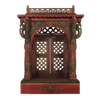 Teak Wood Hand Painted Pooja Mandir - Home Temple Mandapam