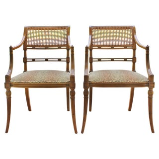 Spanish Klismos Olivewood Armchairs - a Pair