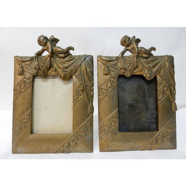 Antique Bronze Cherub Picture Frames - a Pair - Image 3 of 7