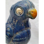 Image of Vintage Blue Majolica Parrot Roof Finials - Pair