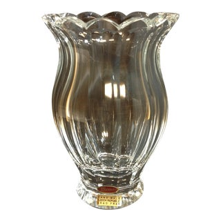 Large Moser Crystal Faceted Vase