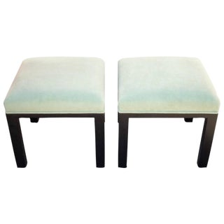 Michael Taylor Pistachio Green Upholstered Stools - A Pair
