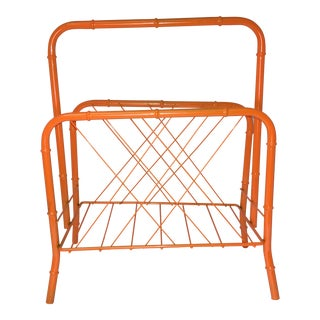 Vintage Faux Bamboo Orange Metal Magazine Rack
