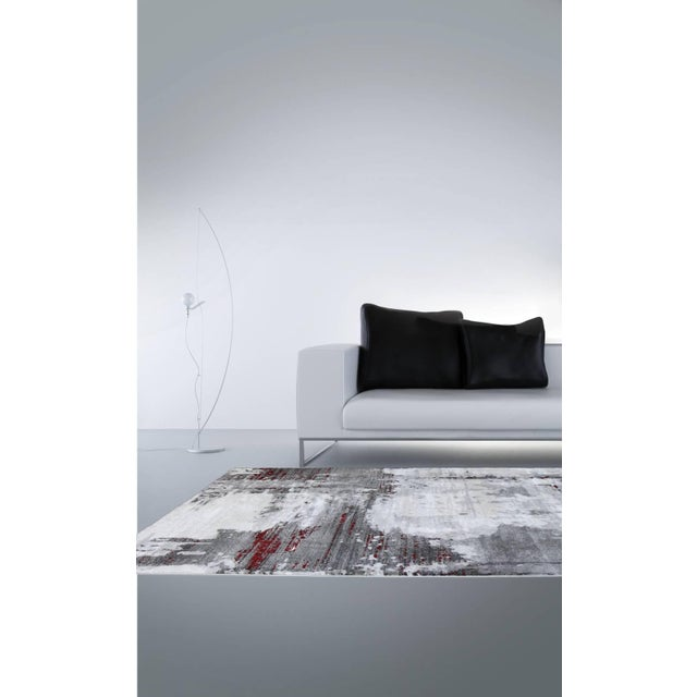 "Contemporary Gray & Red Abstract Rug - 6'7"" x 9'7"" - Image 6 of 8"