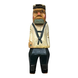 Hand Carved Folk Art Wood Sailor Figure