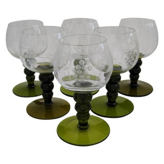 German Green Bubble Stemware - Set of 6