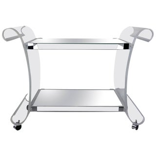 Charles Hollis Jones Lucite Bar Cart or Trolley with Mirrored Shelves
