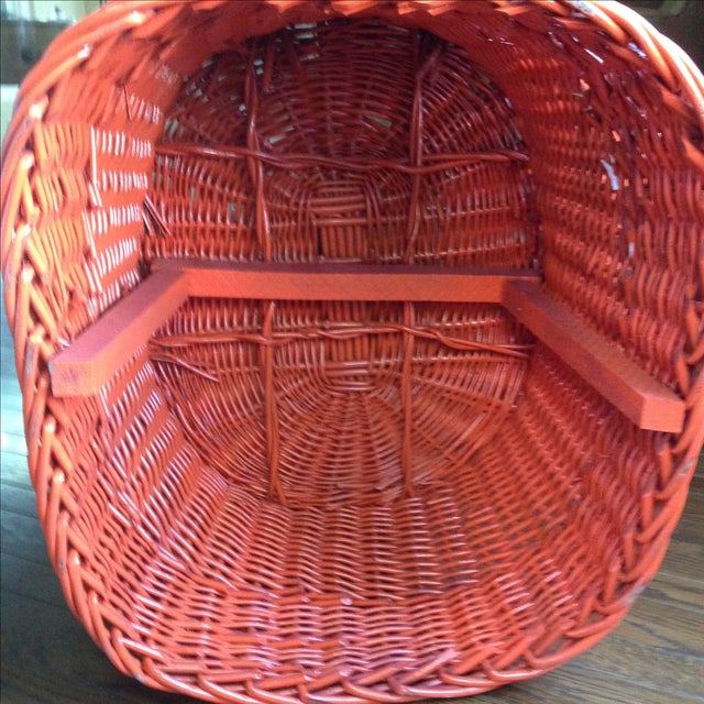 Vintage Bright Orange Wicker Chair - Image 6 of 11