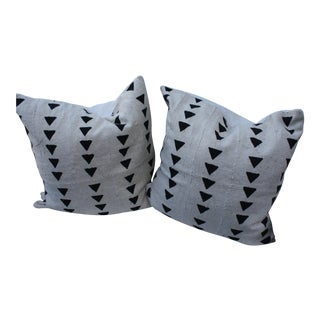 African Mud Cloth Black on White Pillows - A Pair