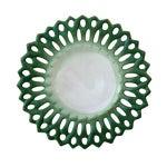 Image of Vintage Portuguese Majolica Ceramic Green Platter