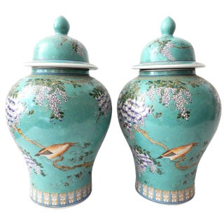Wisteria Vine Birds Porcelain Jars - A Pair