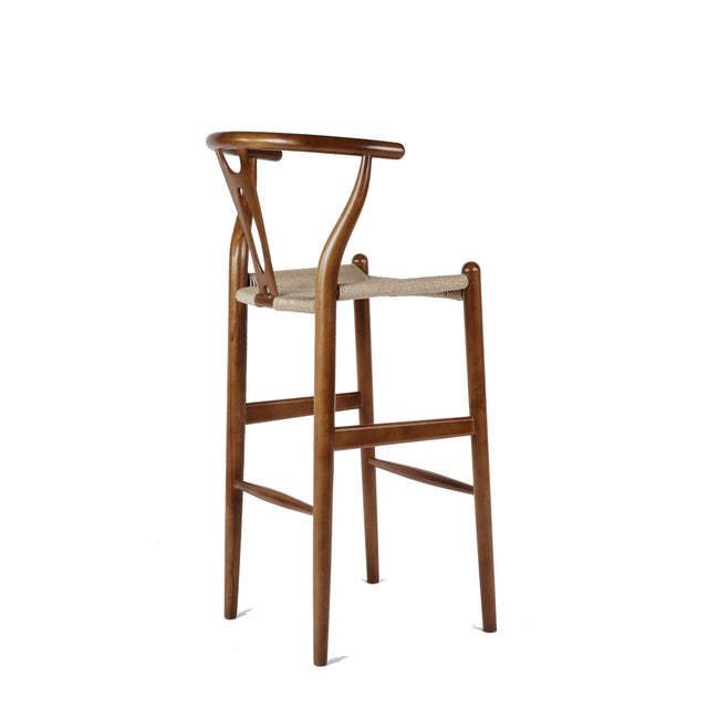 France & Son Walnut Wishbone Barstools - A Pair - Image 3 of 3