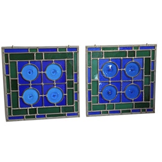 Arts & Crafts Blue & Green Stained Glass Panels - a Pair