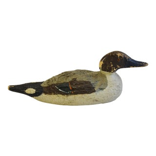 1940s Hand-Crafted Carved Wood Duck Decoy