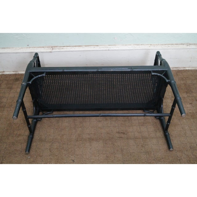 Image of Vintage Faux Bamboo Black Painted Window Bench