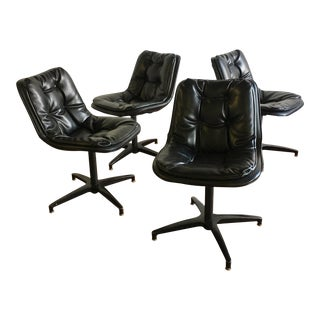 Mid-Century Padded Vinyl Swivel Chairs - Set of 4