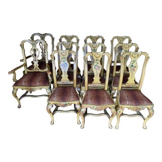Antique Italian Painted Dining Chairs - Set of 12