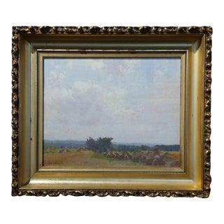 1890s Robert Vonnoh Grèz-Sur-Loing Haystacks Landscape Impressionist Oil Painting