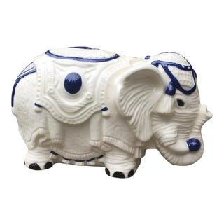 Vintage Blue & White Ceramic Elephant Figurine