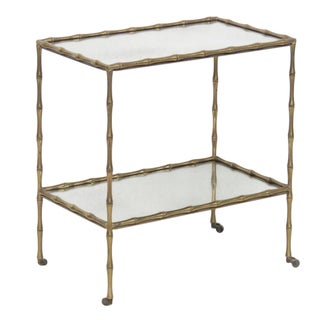 Brass Faux Bamboo & Eglomise Mirror Top Bar Cart