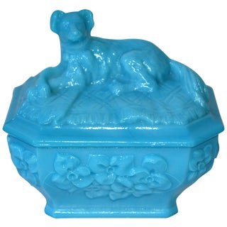 French Portieux Vallersthal Blue Opaline Box