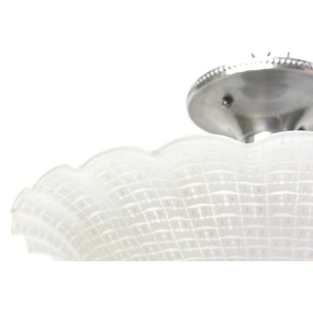 Chrome & Glass Disk Semi Flush Vintage Fixture - Image 4 of 5